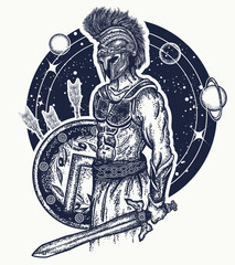 Gladiator spartan warrior holding sword and shield tattoo art. Symbol of bravery, force, army, hero. Spartan warrior t-shirt design. Legionary of ancient Rome and ancient Greece