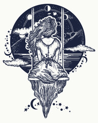 Girl on swing flies to sky.  Symbol of dream,love, imagination, adventures. Romantic girl shakes on swing against background of mountains and stellar sky tattoo and t-shirt design
