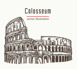 Coliseum in Rome, Italy vector. Colosseum hand drawn illustration