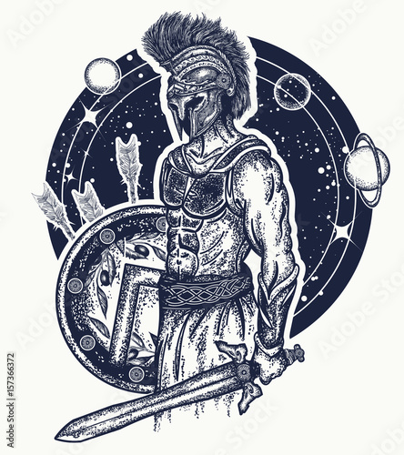 Gladiator Spartan Warrior Holding Sword And Shield Tattoo Art
