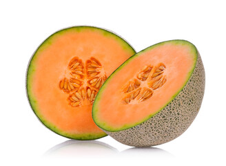 Half of fresh cantaloupe melon fruit isolated on white background.