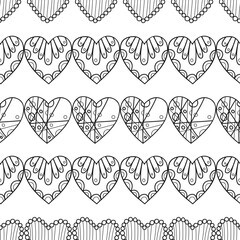 Black and white seamless pattern with decorative hearts for coloring book, page. Romantic ornament. Illustration