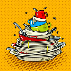 Dirty dishes comic book style vector illustration