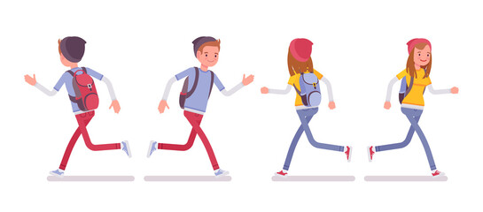 Teenager boy and girl in running pose
