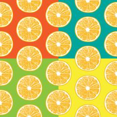 Orange slices seamless pattern. vector illustration element for design. 4 color variations.