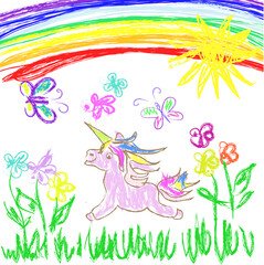 Kids Doodles hand drawing unicorn  running on  grass