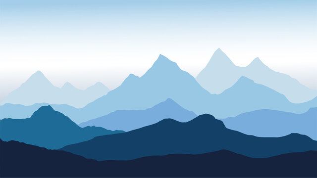 panoramic view of the mountain landscape with fog in the valley below with the alpen glow blue sky - vector