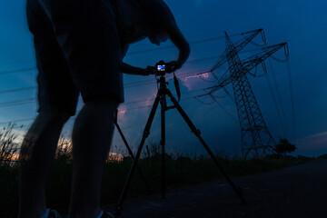 Fotograf macht Langzeitaufnahme