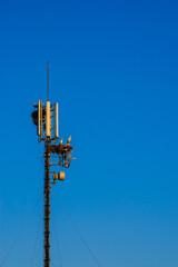 Storks nest on telecommunication antenna
