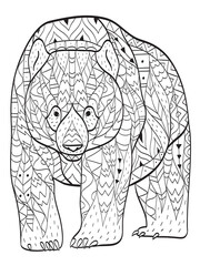 Vector coloring bear for adults