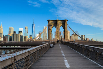 The Brooklyn Bridge and Skyline of New York City at a sunny morning