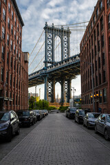 Looking at the Manhattan Bridge and Empire State Building from D.U.M.B.O