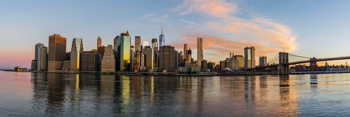 The Skyline of New York City through the sunrise