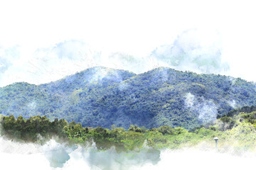 Abstract Mountain watercolor background.