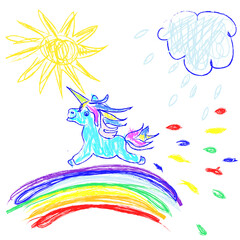 Kids Doodles hand drawing unicorn  running on  rainbow