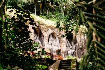 Gunung Kawi. Ancient carved in the stone temple with royal tombs. Bali, Indonesia