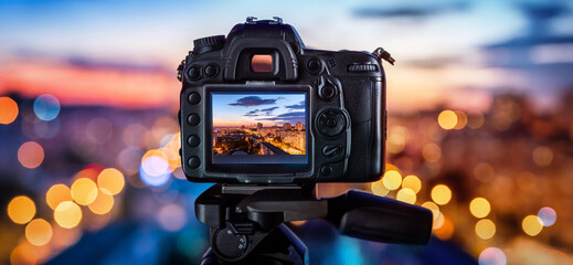 Camera looks at the night city.