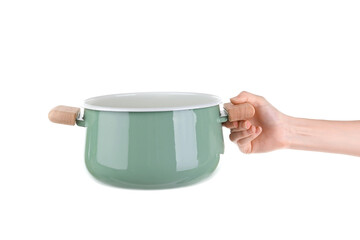 Woman holding saucepan for cooking classes on white background
