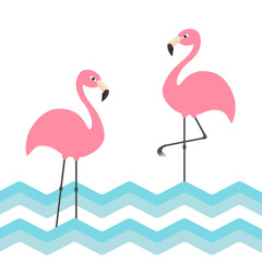 Pink flamingo family set. Blue sea ocean water zigzag wave. Exotic tropical bird. Zoo animal collection. Cute cartoon character. Decoration element. Flat design. White background.