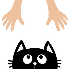 Black cat head looking up to human hand. Cute cartoon funny character. Kawaii animal. Adoption helping hands concept. Love Greeting card. Flat design style. White background. Isolated