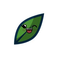 leaf cartoon smiley vector icon illustration graphic design