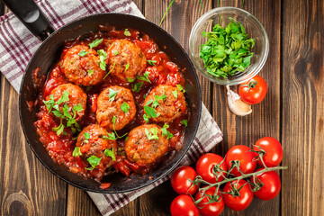Pork meatballs with spicy tomato sauce