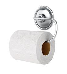 Toilet paper and chrome hanger isolated on white background. 3D illustration