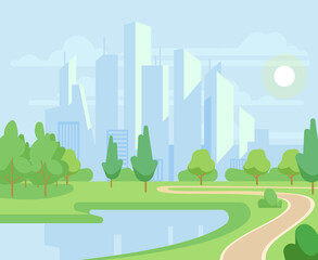 Spring or summer nature and green trees in city park with urban skyline vector illustration