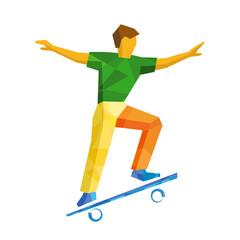 Skateboarder jump on skateboard, isolated on white