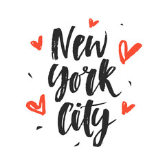 New York City. Modern hand written brush lettering