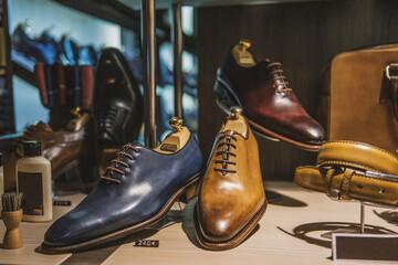 Men shoes in a luxury shop in Paris