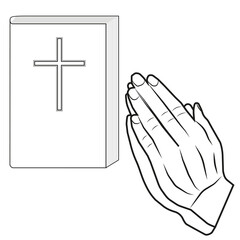 A vector image of hands put together. Prayer. Bible.