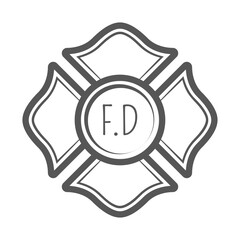 Cross firefighter vector illustration in monocrome vintage style.