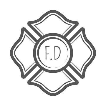Cross firefighter vector illustration in monocrome vintage style.