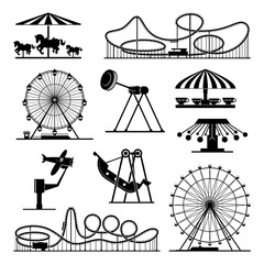 Vector icons of different attractions in amusement park