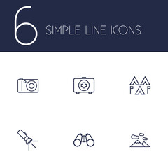Set Of 6 Picnic Outline Icons Set.Collection Of Mountains, Medical Kit, Photographing And Other Elements.