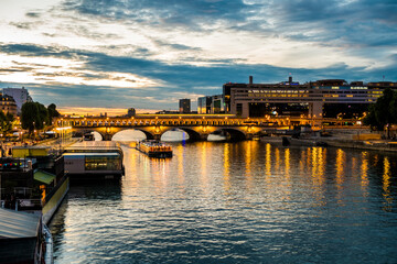 Bercy and pont de Bercy in Paris during blue hour in summer