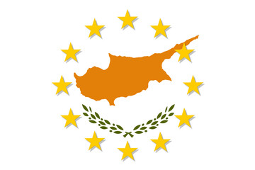 Cyprus national flag with a circle of European Union twelve gold stars, identity and unity with EU, member since 1 May 2004. Vector flat style illustration