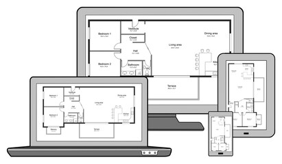 Apartment plan concept on different devices
