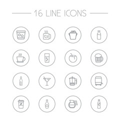 Set Of 16  Outline Icons Set.Collection Of Beer, French Press, Glass And Other Elements.