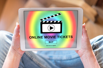 Online movie tickets buying concept on a tablet