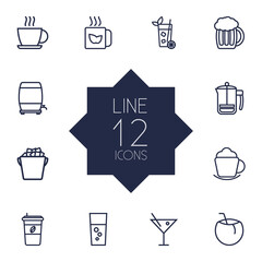 Set Of 12 Drinks Outline Icons Set.Collection Of Green, Cocos, French Press And Other Elements.