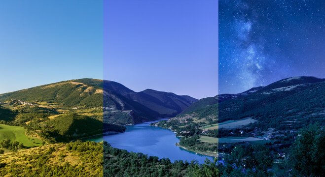 day to night mountain lake landscape panorama