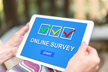 Online survey concept on a tablet