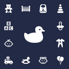 Set Of 13 Child Icons Set.Collection Of Duck, Air Balloon, Girl And Other Elements.