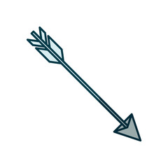 blue shading silhouette of hunting arrow vector illustration