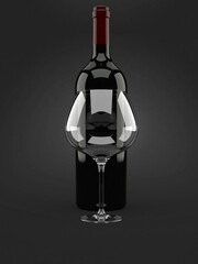 Wine glass with wine bottle