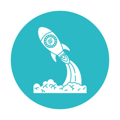 circle light blue with space rocket launch vector illustration