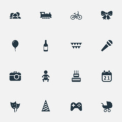 Vector Illustration Set Of Simple Birthday Icons. Elements Camera, Speech, Confectionery And Other Synonyms Fizz, Flags And Calendar.
