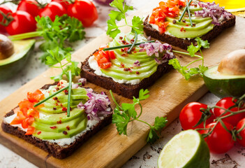 Fresh vegetarian open sandwiches